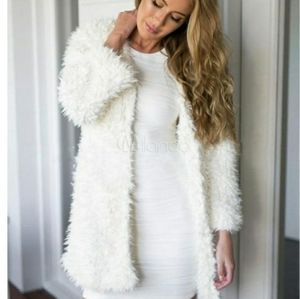 💗3for25 Ambiance Shaggy Faux Fur Coat White